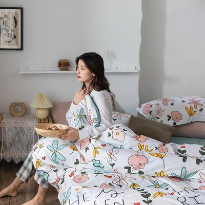 2020春夏新品-花卉风系列四件套 床单款三件套1.2m(4英尺)床 韩式花朵