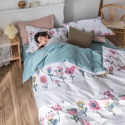 2020春夏新品-花卉风系列四件套 床单款三件套1.2m(4英尺)床 花花世界