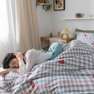 2020春夏新品-花卉风系列四件套 床单款三件套1.2m(4英尺)床 日系花花