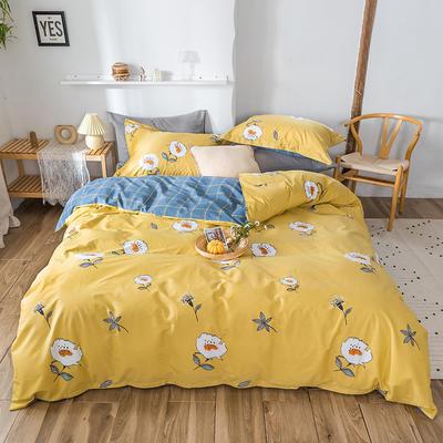 2020春夏新品-花卉风系列四件套 床单款三件套1.2m(4英尺)床 小黄花