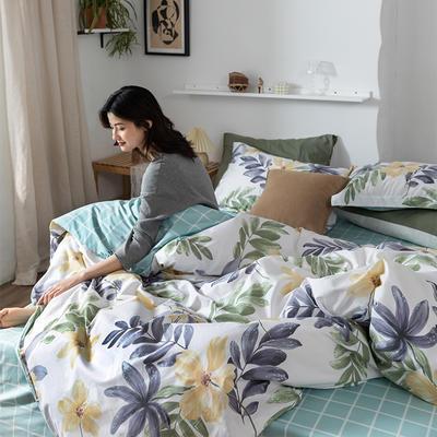 2020春夏新品-花卉风系列四件套 床单款三件套1.2m(4英尺)床 心情-黄