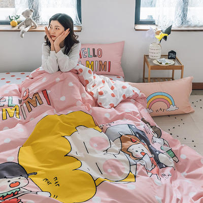 2020新款-大版卡通全棉系列四件套 床单款三件套1.2m(4英尺)床 hellomimi