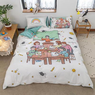 2020新款-大版卡通全棉系列四件套 床单款三件套1.2m(4英尺)床 拜托了老师