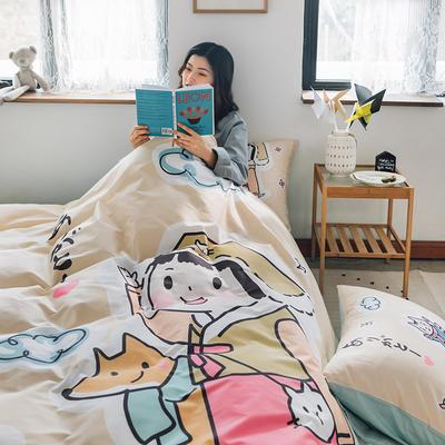 2020新款-大版卡通全棉系列四件套 床单款三件套1.2m(4英尺)床 桃太郎日记