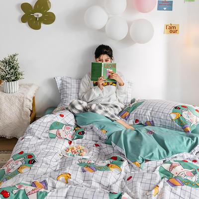 2020春夏新品-萌系卡通风系列四件套 床单款三件套1.2m(4英尺)床 可爱老头