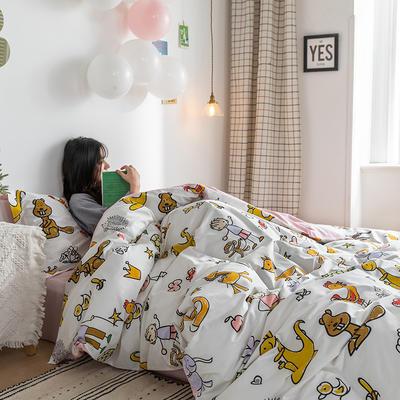 2020春夏新品-萌系卡通风系列四件套 床单款三件套1.2m(4英尺)床 乐乐的花园