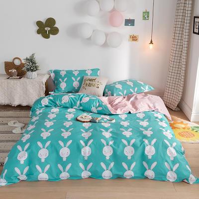 2020春夏新品-萌系卡通风系列四件套 床单款三件套1.2m(4英尺)床 萌萌兔蓝