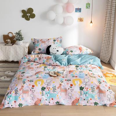 2020春夏新品-萌系卡通风系列四件套 床单款三件套1.2m(4英尺)床 青青草地