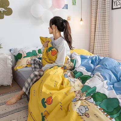 2020春夏新品-萌系卡通风系列四件套 床单款三件套1.2m(4英尺)床 田野