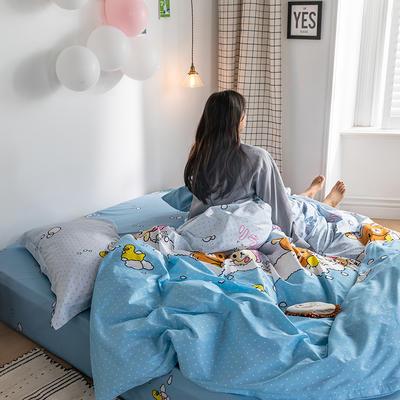 2020春夏新品-萌系卡通风系列四件套 床单款三件套1.2m(4英尺)床 洗澡啦