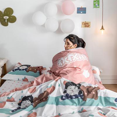 2020春夏新品-萌系卡通风系列四件套 床单款三件套1.2m(4英尺)床 小桃子