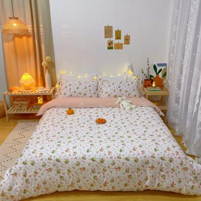 2020春夏新品-花卉风系列四件套 床单款三件套1.2m(4英尺)床 蜜家