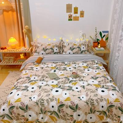 2020春夏新品-花卉风系列四件套 床单款三件套1.2m(4英尺)床 世锦花