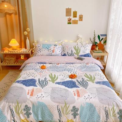 2020春夏新品-花卉风系列四件套 床单款三件套1.2m(4英尺)床 沼泽公园