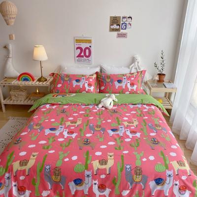 2020春夏新品-萌系卡通风系列四件套 床单款三件套1.2m(4英尺)床 可爱羊驼粉