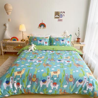 2020春夏新品-萌系卡通风系列四件套 床单款三件套1.2m(4英尺)床 可爱羊驼蓝