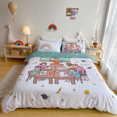 2020新款-窝米二次元大版卡通实拍图 床单款三件套1.2m(4英尺)床 拜托了老师
