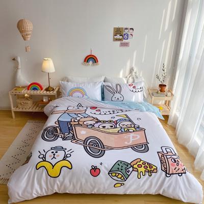 2020新款-窝米二次元大版卡通实拍图 床单款三件套1.2m(4英尺)床 彼得兔