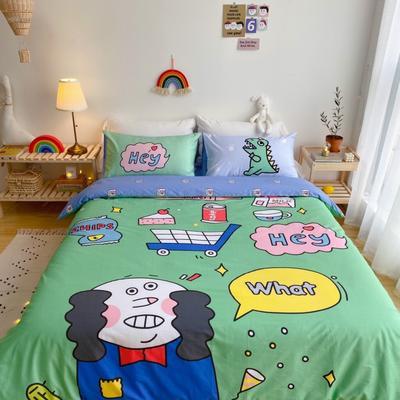 2020新款-窝米二次元大版卡通实拍图 床单款三件套1.2m(4英尺)床 怪蜀黍