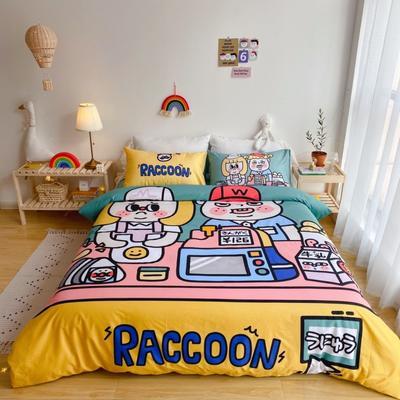 2020新款-窝米二次元大版卡通实拍图 床单款三件套1.2m(4英尺)床 收银员