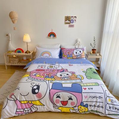 2020新款-窝米二次元大版卡通实拍图 床单款三件套1.2m(4英尺)床 守护甜心