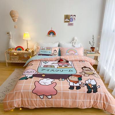 2020新款-窝米二次元大版卡通实拍图 床单款三件套1.2m(4英尺)床 雪糕量贩屋