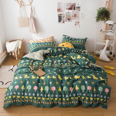 2020春夏新品-13370萌宠风系列四件套 床单款三件套1.2m(4英尺)床 花开少年-绿