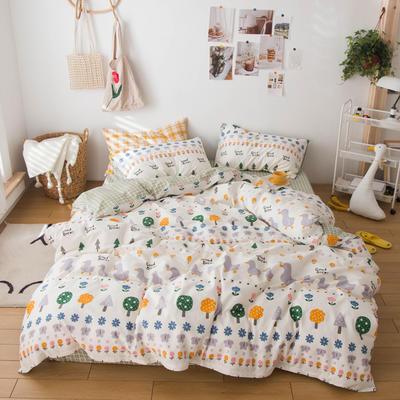 2020春夏新品-13370萌宠风系列四件套 床单款三件套1.2m(4英尺)床 花开少年-米