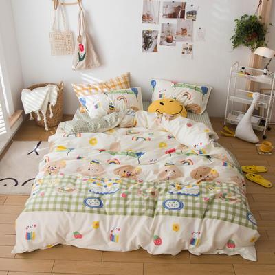 2020春夏新品-13370萌宠风系列四件套 床单款三件套1.2m(4英尺)床 怦然心动-米
