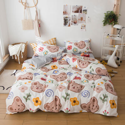 2020春夏新品-13370萌宠风系列四件套 床单款三件套1.2m(4英尺)床 小懒虫