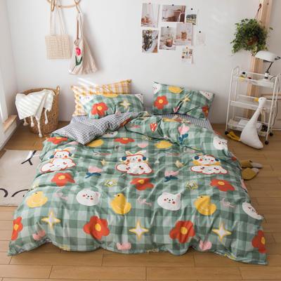 2020春夏新品-13370萌宠风系列四件套 床单款三件套1.2m(4英尺)床 小傻瓜
