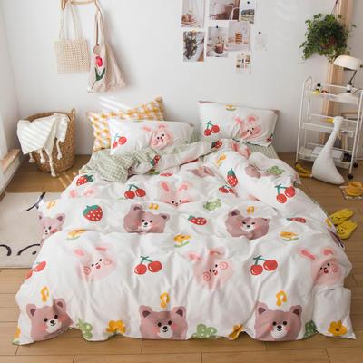 2020春夏新品-13370萌宠风系列四件套 床单款三件套1.2m(4英尺)床 小仙女-米