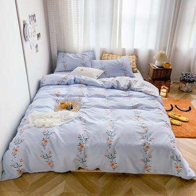 2020新款-13370小清新花卉风系列四件套 床单款三件套1.2m(4英尺)床 花瑾蓝