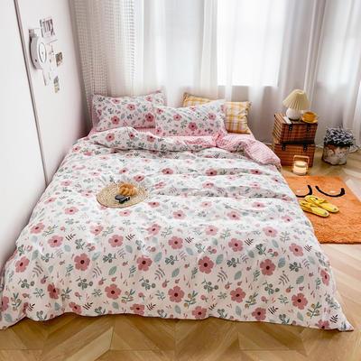 2020新款-13370小清新花卉风系列四件套 床单款三件套1.2m(4英尺)床 一芳红