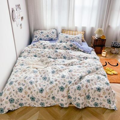 2020新款-13370小清新花卉风系列四件套 床单款三件套1.2m(4英尺)床 一芳蓝
