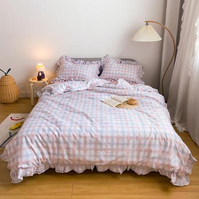 2020新款-13372工艺款韩版风格子花边系列四件套 床单款三件套1.2m(4英尺)床 粉格
