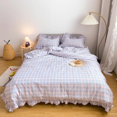 2020新款-13372工艺款韩版风格子花边系列四件套 床单款三件套1.2m(4英尺)床 灰格