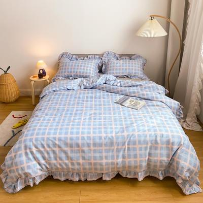 2020新款-13372工艺款韩版风格子花边系列四件套 床单款三件套1.2m(4英尺)床 蓝粉格