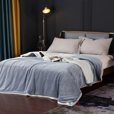 2021新款双层贝贝绒毯盖毯毛毯系列 1.2*2.0m 条纹珍珠灰+白