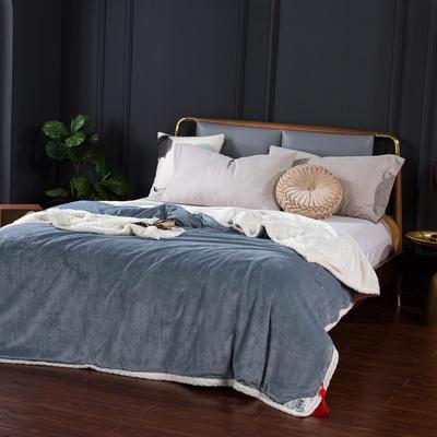 2021新款双层贝贝绒毯盖毯毛毯系列 1.2*2.0m 珍珠灰+白