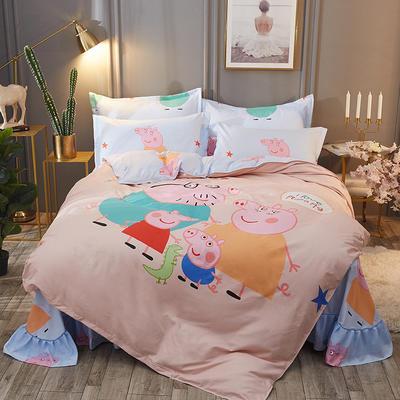 2019新款-大版花四件套 1.5m(5英尺)床 快乐的小猪
