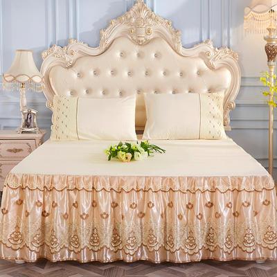 2019新款-蕾丝床裙三件套 单床裙150cmx200cm 大气黄单床裙