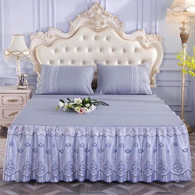 2019新款-蕾丝床裙三件套 单床裙150cmx200cm 经典灰单床裙