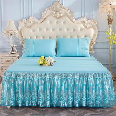 2019新款-蕾丝床裙三件套 单床裙150cmx200cm 清凉绿单床裙