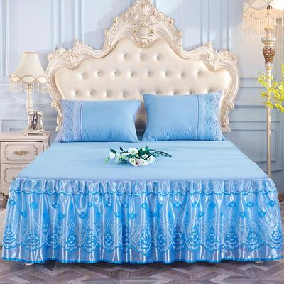 2019新款-蕾丝床裙三件套 单床裙150cmx200cm 天空蓝单床裙