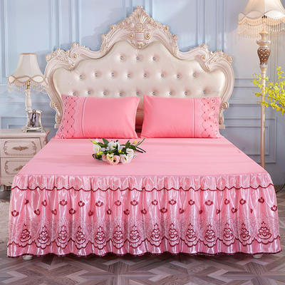 2019新款-蕾丝床裙三件套 单床裙150cmx200cm 温柔玉单床裙