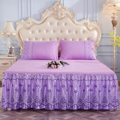 2019新款-蕾丝床裙三件套 单床裙150cmx200cm 优雅紫单床裙