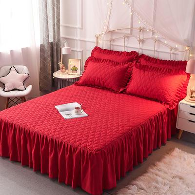 2019新款-夹棉床裙三件套终版 150*200cm 小蜜蜂-大红