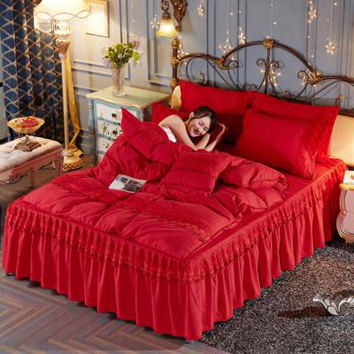 2019新款-欧韩蕾丝床裙四件套 1.5m(5英尺)床 喜庆红