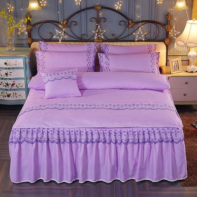 2019新款-欧韩蕾丝床裙四件套 1.5m(5英尺)床 优雅紫
